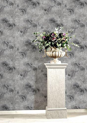 Papier peint motif animal Atlas STI-5100-5 papier peint intissé gaufré avec des motifs de serpent satiné platine gris-argent anthracite 7,035 m2 – Bild 3