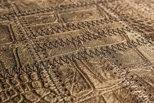 Präge Tapete Atlas STI-5101-4 Vliestapete geprägt in Lederoptik schimmernd braun grün-braun khaki-grau bronze 7,035 m2 – Bild 2