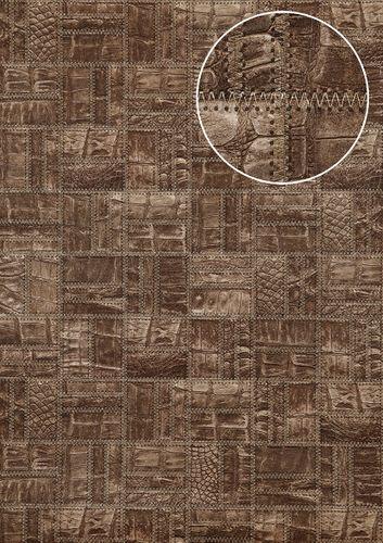 Papier peint gaufré Atlas STI-5101-6 papier peint intissé gaufré d'aspect de cuir satiné gris vert-brun gris granit gris terre d'ombre 7,035 m2 – Bild 1