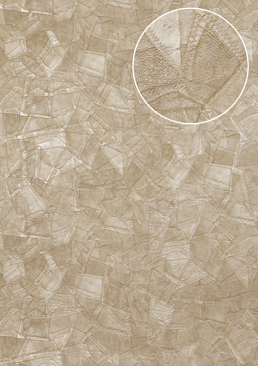 pr ge tapete atlas sti 5102 2 vliestapete gepr gt in lederoptik schimmernd beige perl beige grau. Black Bedroom Furniture Sets. Home Design Ideas