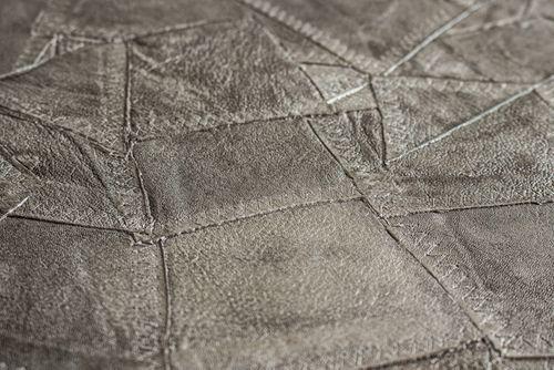Papier peint gaufré Atlas STI-5102-3 papier peint intissé gaufré d'aspect de cuir satiné argent gris-clair-nacré aluminium blanc 7,035 m2 – Bild 2
