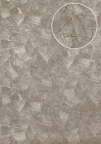 Reliëf behang Atlas STI-5102-3 vliesbehang gestempeld in leer optiek glanzend zilver parelmoer-lichtgrijs blank aluminiumkleurig 7,035 m2 – Bild 1