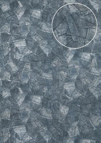 Reliëf behang Atlas STI-5102-6 vliesbehang gestempeld in leer optiek glanzend blauw duifblauw blauwgrijs 7,035 m2 – Bild 1