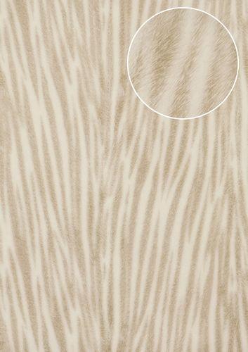 Dieren patroon behang Atlas STI-5103-2 vliesbehang gestempeld in vacht optiek glanzend crème crèmewit grijsbeige 7,035 m2 – Bild 1