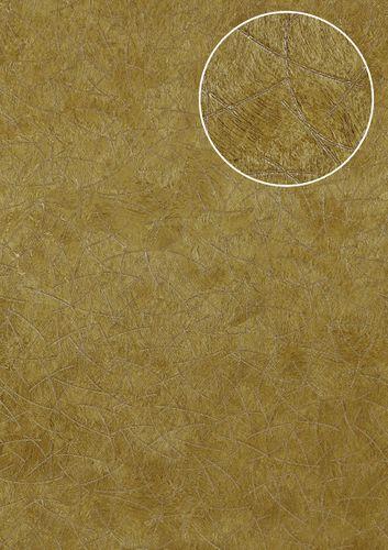 Carta da parati grafica Atlas STI-5106-4 Carta da parati TNT goffrata con aspetto pelliccia scintillante oro giallo-olivastro giallo-ocra oro-perlato 7,035 m2 – Bild 1