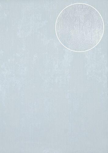 Uni kleuren behang Atlas TEM-5112-4 vliesbehang gestructureerd in spachtelputz look glanzend blauw pastelblauw lichtblauw grijswit 7,035 m2 – Bild 1