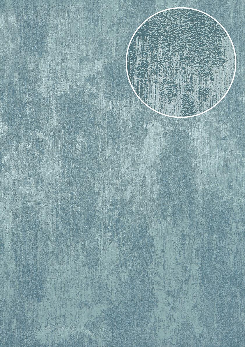 uni tapete atlas tem 5112 8 vliestapete strukturiert in spachteloptik und metallic effekt blau. Black Bedroom Furniture Sets. Home Design Ideas