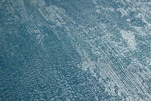 Uni Tapete Atlas TEM-5112-8 Vliestapete strukturiert in Spachteloptik und Metallic Effekt blau silber azur-blau pastell-blau 7,035 m2 – Bild 2