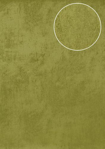 Uni kleuren behang Atlas TEM-5113-6 vliesbehang glad in spachtelputz look en metallic effect groen appel-groen bleekgroen goud 7,035 m2 – Bild 1
