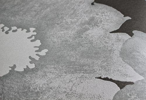 Blumen Tapete Atlas TEM-5108-6 Vliestapete geprägt im Retro-Stil und metallischen Akzenten grau silber anthrazit weiß 7,035 m2 – Bild 2