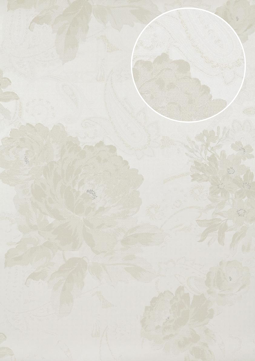 blumen tapete atlas tem 5109 1 vliestapete strukturiert mit paisley muster schimmernd creme perl. Black Bedroom Furniture Sets. Home Design Ideas