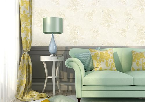 Bloemen behang Atlas TEM-5109-1 vliesbehang gestructureerd met paisley motief glanzend crème parelwit licht ivoorkleurig grijsbeige 7,035 m2 – Bild 4