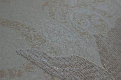 Bloemen behang Atlas TEM-5109-1 vliesbehang gestructureerd met paisley motief glanzend crème parelwit licht ivoorkleurig grijsbeige 7,035 m2 – Bild 2