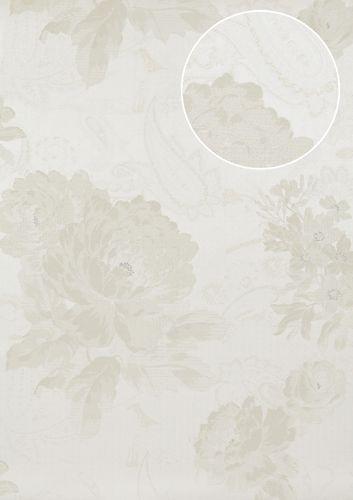 Blumen Tapete Atlas TEM-5109-1 Vliestapete strukturiert mit Paisley Muster schimmernd creme perl-weiß hell-elfenbein grau-beige 7,035 m2 – Bild 1