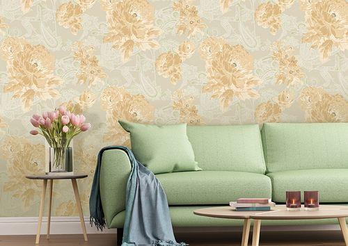Blumen Tapete Atlas TEM-5109-3 Vliestapete strukturiert mit Paisley Muster schimmernd beige pastell-orange weiß blass-grün 7,035 m2 – Bild 4