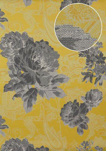 Bloemen behang Atlas TEM-5109-7 vliesbehang gestructureerd met paisley motief glanzend geel donkergrijs grijswit platina 7,035 m2 – Bild 1