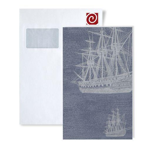 Échantillon de papier peint ATLAS 584-series | Papier peint à motifs graphiques au style maritime et des accents métalliques – Bild 3