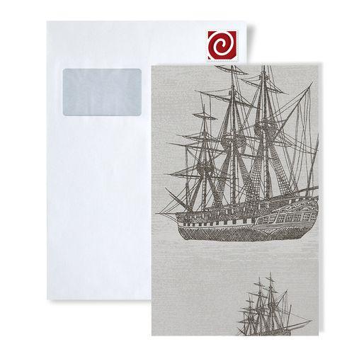 Échantillon de papier peint ATLAS 584-series | Papier peint à motifs graphiques au style maritime et des accents métalliques – Bild 5