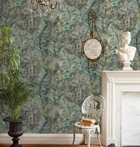 Exclusive luxury wallpaper wall Profhome 822203 vinyl wallcovering embossed with feather pattern shiny green leaf-green gold brown-green 5.33 m2 (57 ft2) – Bild 2