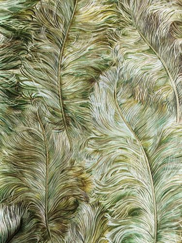 Exclusive luxury wallpaper wall Profhome 822203 vinyl wallcovering embossed with feather pattern shiny green leaf-green gold brown-green 5.33 m2 (57 ft2) – Bild 1