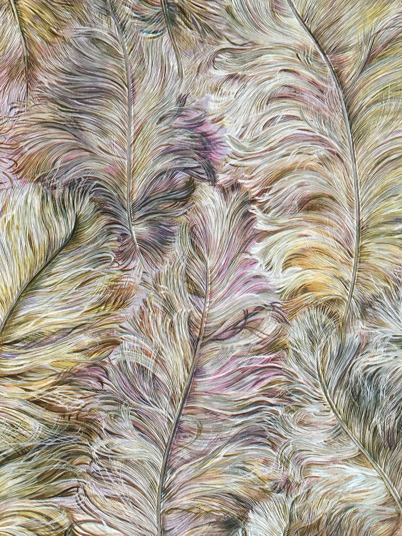 profhome 822205 luxus tapete federn gl nzend alt rosa gold gelb silber 5 33 m2 ebay. Black Bedroom Furniture Sets. Home Design Ideas