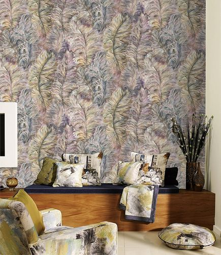 Exclusive luxury wallpaper wall Profhome 822205 vinyl wallcovering embossed with feather pattern shiny violet antique-pink golden-yellow silver 5.33 m2 (57 ft2) – Bild 2