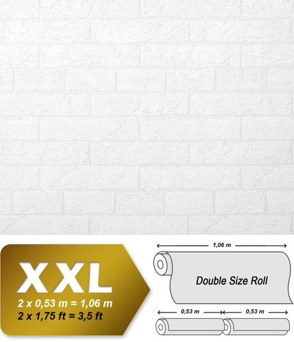 Textured wallpaper wall EDEM 83101BR70 non-woven wallcovering textured stone look matt white 26.50 m2 (285 ft2 – Bild 2