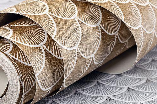 Papier peint rétro EDEM 1031-11 papier peint vinyle gaufré avec un dessin graphique scintillant blanc bronze 5,33 m2 – Bild 3