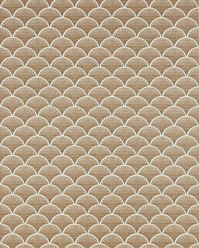 Papier peint rétro EDEM 1031-11 papier peint vinyle gaufré avec un dessin graphique scintillant blanc bronze 5,33 m2 – Bild 1