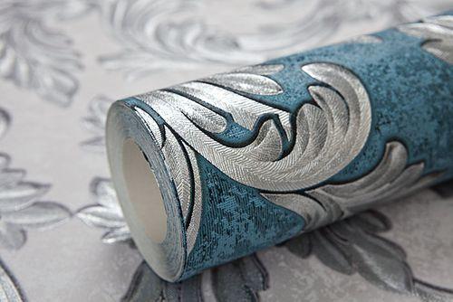 Barock Tapete EDEM 1032-10 Vinyltapete glatt mit Ornamenten und Metallic Effekt weiß silber 5,33 m2 – Bild 3