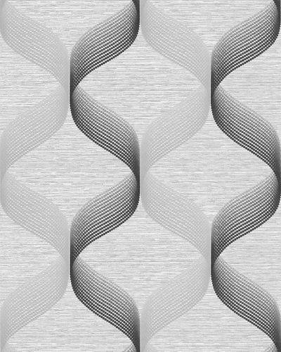 Papier peint rétro EDEM 1034-10 papier peint vinyle texturé avec un dessin graphique scintillant argent gris anthracite 5,33 m2 – Bild 1