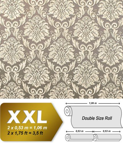 Baroque wallcovering wall EDEM 9014-32 non-woven wallcovering embossed with ornaments shiny beige cream bronze 10.65 m2 (114 ft2) – Bild 1