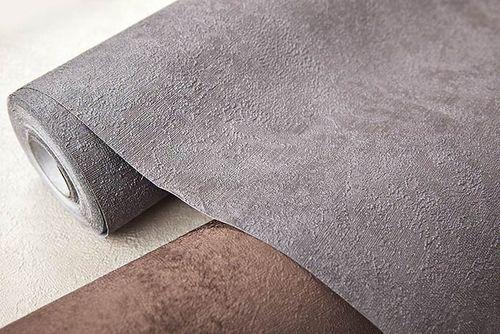 Papier peint unicolore EDEM 9031-17 Papier peint intissé gaufré à l'aspect crépi satiné gris argent 10,65 m2