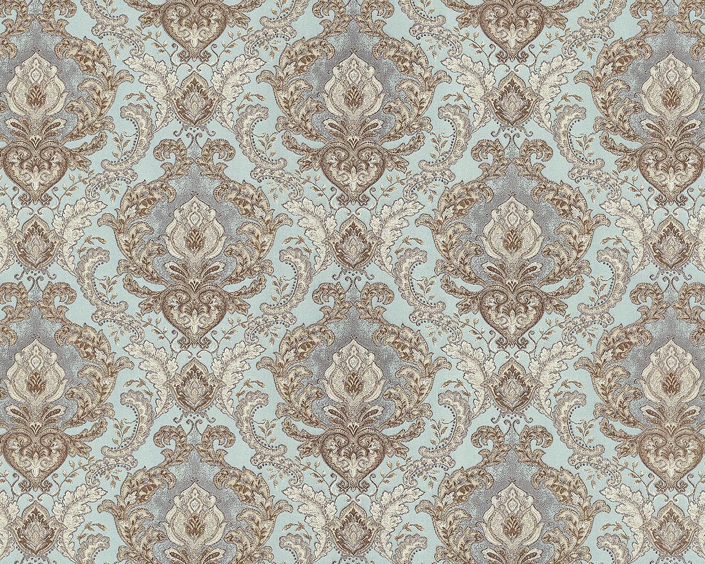 Edem 9063 39 Papier Peint Baroque Brillant Turquoise Blanc Creme 10