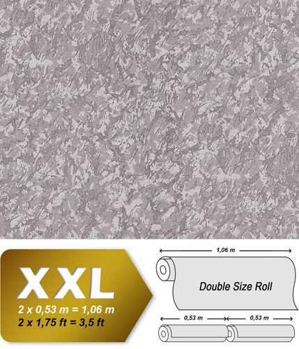 Unicolour wallpaper wall EDEM 9076-25 non-woven wallcovering embossed with decorative render look and metallic effect silver gray 10.65 m2 (114 ft2) – Bild 1