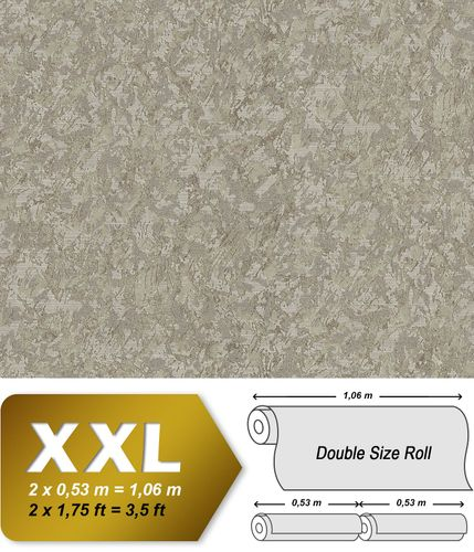 Unicolour wallpaper wall EDEM 9076-26 non-woven wallcovering embossed with decorative render look and metallic effect beige pearl-gold 10.65 m2 (114 ft2) – Bild 1