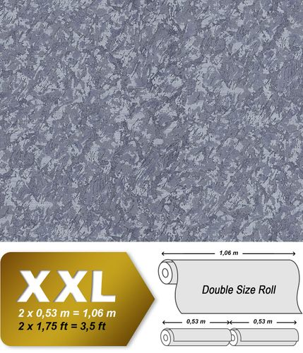 Unicolour wallpaper wall EDEM 9076-27 non-woven wallcovering embossed with decorative render look and metallic effect gray pigeon-blue blue-gray 10.65 m2 (114 ft2) – Bild 1
