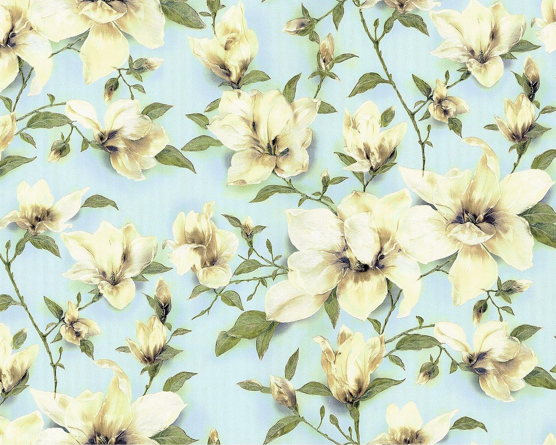 edem 9080 29 blumen tapete floral schimmernd blau gr n. Black Bedroom Furniture Sets. Home Design Ideas