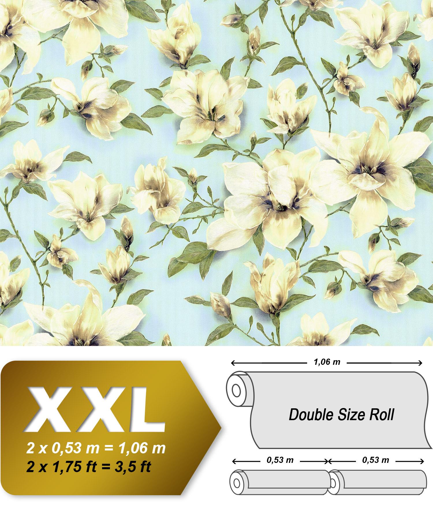 blumen tapete edem 9080 29 vliestapete gepr gt mit floralen ornamenten schimmernd blau gr n wei. Black Bedroom Furniture Sets. Home Design Ideas