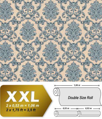 Barock Tapete EDEM 6001-90 Vliestapete geprägt mit Ornamenten glitzernd beige blau-grün grau 10,65 m2 – Bild 1
