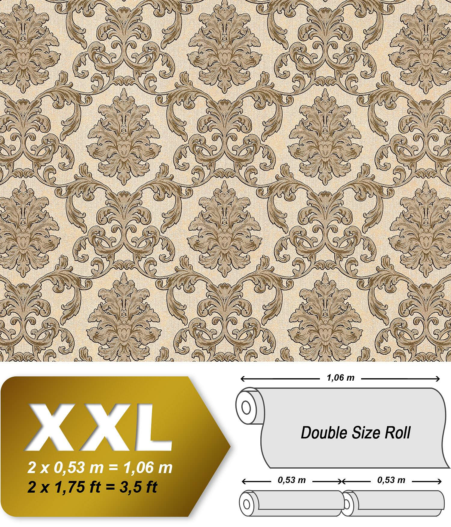 barock tapete edem 6001 91 vliestapete gepr gt mit ornamenten glitzernd creme beige gold 10 65. Black Bedroom Furniture Sets. Home Design Ideas