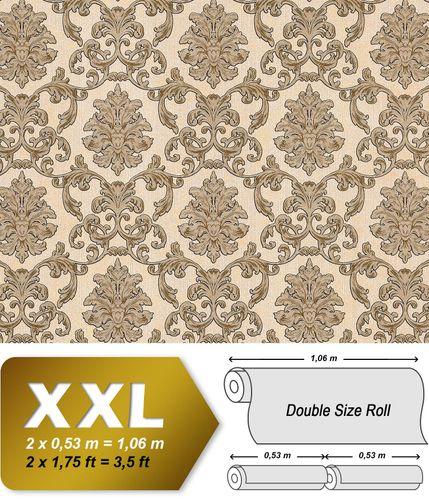 Barock Tapete EDEM 6001-91 Vliestapete geprägt mit Ornamenten glitzernd creme beige gold 10,65 m2 – Bild 1