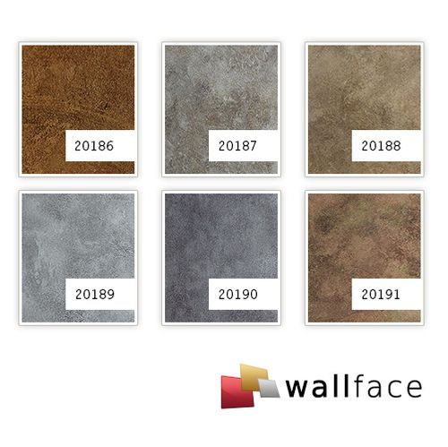 Design panelling vintage look WallFace 20191 OXIDIZED Autumn AR smooth wall panel metal look glossy self-sticking abrasion resistant brown brown-gray 2,6 m2 – Bild 2