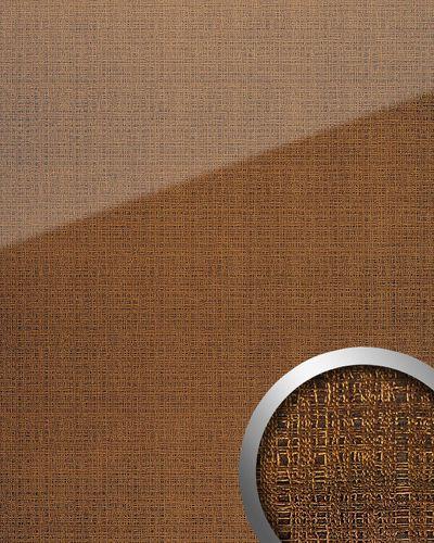 Panneau mural aspect verre WallFace 20221 GRID Gold AR+ lisse Revêtement mural aspect textil très brillant auto-adhésif résistant à l'abrasion or brun-doré 2,6 m2