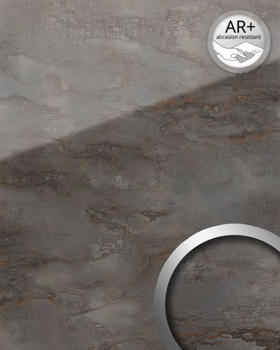 Design panelling marble look WallFace 20223 GENESIS Grey AR+ smooth wall panel glass look mirror finish self-sticking abrasion resistant grey anthracite-gray 2,6 m2 – Bild 1