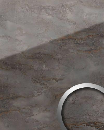Panel de pared aspecto vidrio WallFace 20223 GENESIS Grey AR+ liso Revestimiento mural de aspecto mármol extra brillante autoadhesivo resistente a la abrasión gris gris-antracita 2,6 m2