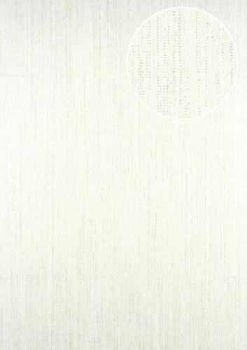 Papier peint unicolor ATLAS CLA-596-1 papier peint intissé légèrement texturé avec un motif rayé subtilement scintillant blanc blanc-perlé 5,33 m2