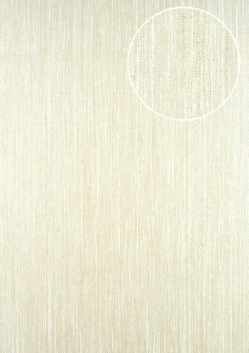 Unicolour wallpaper wall ATLAS CLA-596-6 non-woven wallpaper slightly textured with a striped pattern subtly glittering beige oyster white pearl beige 5.33 m2 (57 ft2) – Bild 1