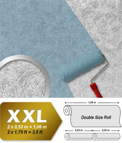 Wall covering non-woven EDEM 308-60 Wallpaper wall paintable XXL plaster textured decor white