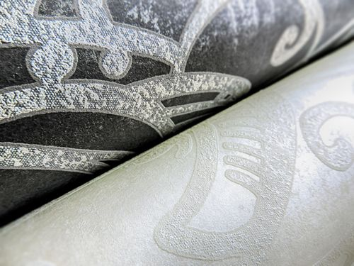 Barock Tapete ATLAS CLA-597-1 Vliestapete geprägt mit grafischem Muster glänzend creme perl-weiß weiß 5,33 m2 – Bild 4